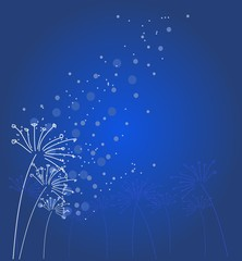 Blue background with flowers decoration