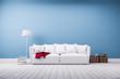 Leinwanddruck Bild - Couch und Stehlampe vor blauer Betonwand