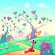 Romantic landscape with fox - 81752682