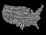 Fototapety USA Map word cloud with most important cities