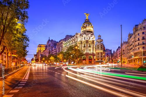 Madrid, Spain Cityscape on Gran Via