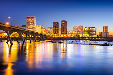Richmond, Virginia, USA Downtown Skyline on the River