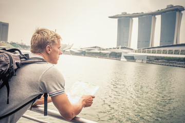 tourist adventure with map to Singapore