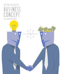 Two businessmen exchange money with idea  and handshake. Agreeme