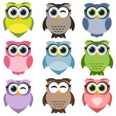Cute owls set