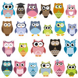 Fototapety Set of cartoon owls with various emotions