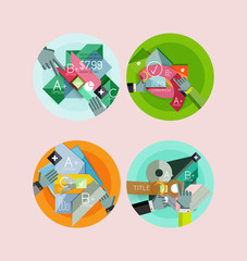 Set of flat design circle infographic icons