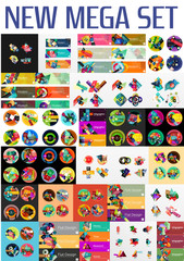 Mega collection of flat web infographics