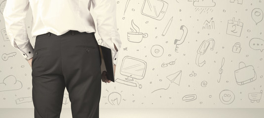 Businessman with social media icons