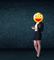 businesswoman wears yellow smiley face