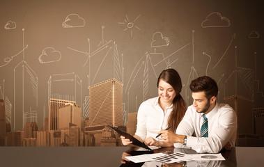 Business couple with buildings and measurements