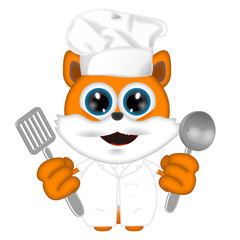 Marvin cat kitty animal cook cooking chef hat food