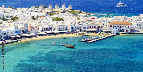 Poster Eiland Mykonos island in Greece Cyclades