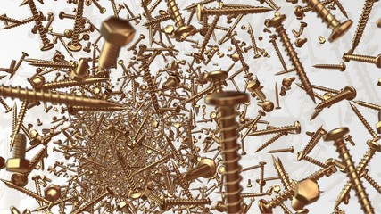 Abstract flying bolts and screws in gold color