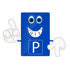 Funny parking disk park fees charges costs cartoon illustration