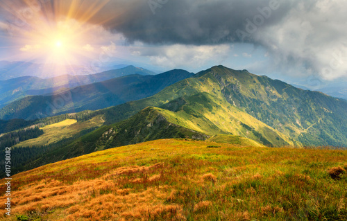 Beautiful summer landscape in the mountains. Sunset. - 81758082