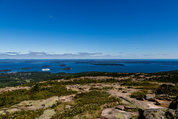 Cadillac Mountain and Cruise Ship