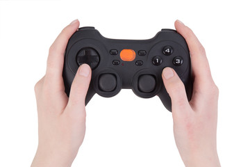 joystick in female hands isolated