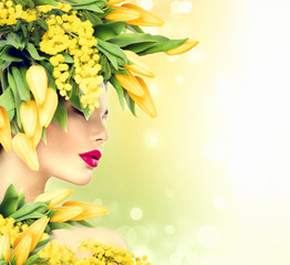 Beauty summer model girl with nature flowers hairstyle