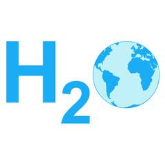 Icono texto H2O con planeta tierra