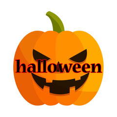 Icono texto halloween en calabaza