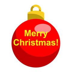 Icono texto Merry Christmas en bola roja