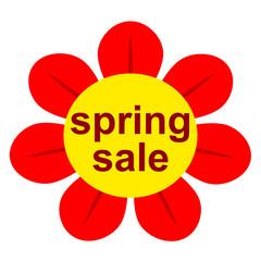 Icono texto spring sale en simbolo flor