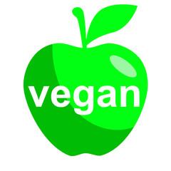 Icono texto vegan en manzana verde