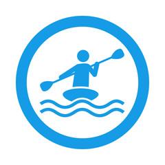 Icono redondo kayak azul