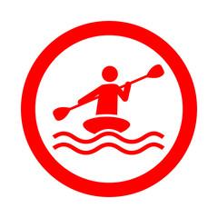 Icono redondo kayak rojo