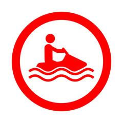 Icono redondo moto acuatica rojo