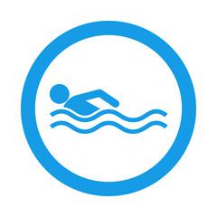 Icono redondo nadador azul