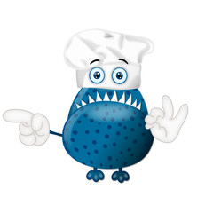 Funny monster cook cooking chef hat cartoon illustration childre