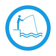 Icono redondo pescador azul