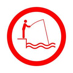 Icono redondo pescador rojo