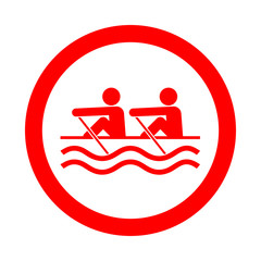 Icono redondo remo rojo