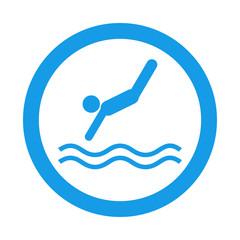 Icono redondo saltador azul