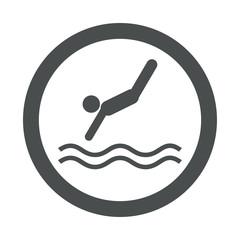 Icono redondo saltador gris