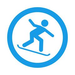Icono redondo snowboard azul