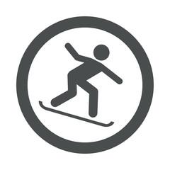 Icono redondo snowboard gris