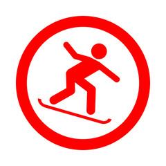 Icono redondo snowboard rojo
