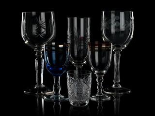 Glass glasses on the black