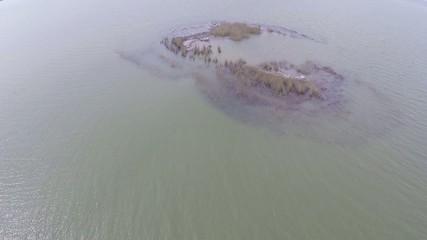 Island hosting colonies of dalmatian pelicans, aerial view