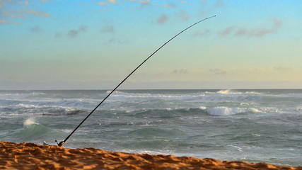Fishing rods set up on beach shore at sunset