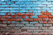 Leinwanddruck Bild - Old red brick wall half painted in bright blue color a lot of