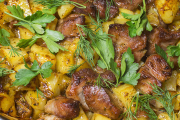 Meat with potatoes stewed with spices