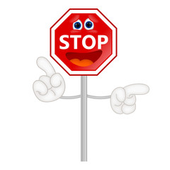 Funny stop sign traffic attention cartoon comic illustration