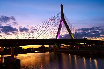 Zakim Bunker Hill Memorial Bridge at sunset