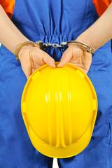 failure guilty laborer regretful criminal handcuffed hard hat