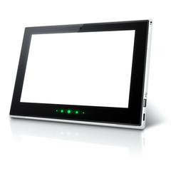 Ilustracja tabletu z białym wyświetlaczem i zielonymi diodami